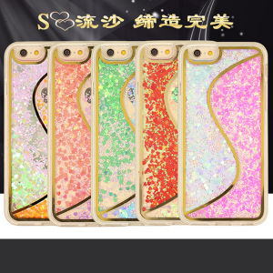 china newest s line glitter moving liquid mobile phone accessories