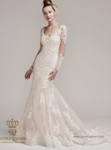 Long Sleeve Married Gown Withtrain Tulle Lace Wedding Dress