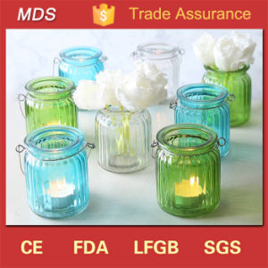 China Manufacturers Ribbed Glass Lantern Candle Holder for Home pictures & photos
