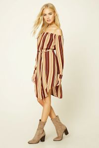 Fashion Striped off Shoulder Long Sleeve Dress pictures & photos