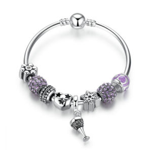 Openwork Heart Charm Bracelets with Purple Crystal Beads Bracelets & Bangles for Women Jewelry pictures & photos