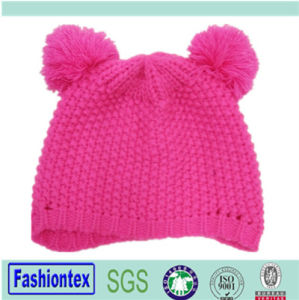 Customized Spring Autumn and Winter Lady Acrylic Beanie Caps with Two Pompom pictures & photos