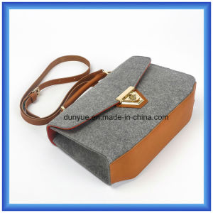 Simple Design Customized Wool Felt Casual Messenger Bag, Hot Promotion Shopping Tote Hand Bag with Adjustable PU Leather Belt