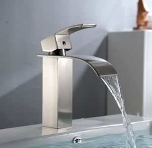 Lead-Free Stainless Steel Waterfall Bathroom Vanity Sink Faucet with Extra Large Rectangular Spout, Brushed Finish