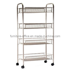 4 Layers Mobile Wire Shelving with Basket pictures & photos