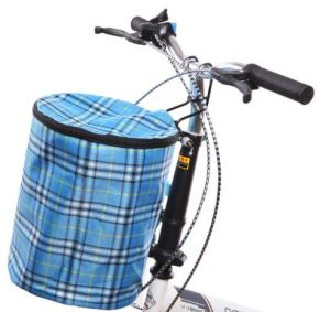 US Front Handlebar Bicycle Portable Fold-up Metal Canvas Bike Basket with Cover