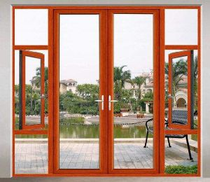 European Style Wood Color Thermal Break Aluminum Casement Door with Grill (ACD-021) pictures & photos