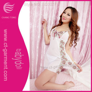 Hot White Embroidered Babydoll Sexy Lingerie for Women (BD3007)