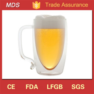 High Borosilicate Double Wall Beer Glass Mug Handle pictures & photos