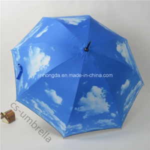 "22""X8k Blue Sky White Cloud Simple Straight Sun Umbrella (YSS0146-4)"