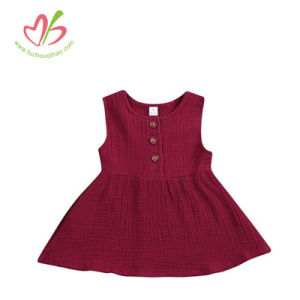 100% Cotton Double Gauze Girl Red Sleeveless Dress with Buttons