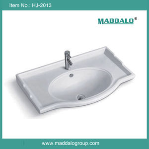 Simple European Style Ceramic Cabinet Vanity Basin (HJ-2013)