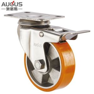 Stainless Steel 304 Series-Aluminum PU Swivel Total Brake