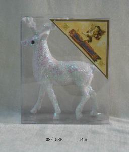 White Foam Tinsel Deco. Christmas Deer Hanging Ornament
