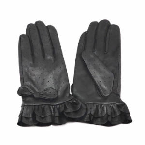 Lady Fashion Ruffle Cuff Goatskin Leather Dress Gloves (YKY5210) pictures & photos