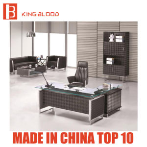 Modern Glass Top Office Desk with Stainless Steel Foot
