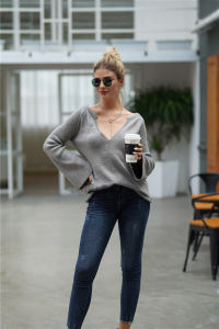 Women′s Casual Crew Deep V Neck Kimono Flare Sleeve Loose Fit Solid Pullover Sweater Knitted Jumper Tops