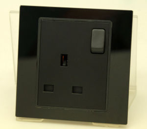 UK Tempered Glass Wall Power Socket with Switch Max 13A 250V AC Black Color