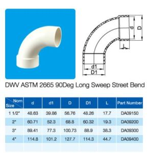 ASTM Dwv 90deg Long Sweep Street Bend NSF Certificate pictures & photos