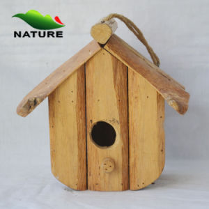 Wood Handmade Bird House with String
