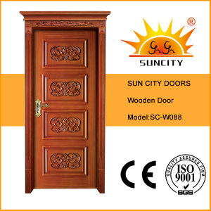 High Quality Rubber Wood Timber Door with Decorative Flower Design (SC-W088) pictures & photos