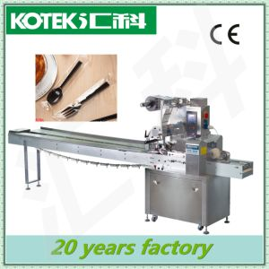 Daily Use Auto Horizontal Flow Film Tableware Packing Machine