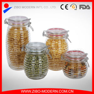 Custom Glass Jar Wholesale Glass Jar with Lid Clear Canister Round Honey Jars Hot Sale Canister Glass pictures & photos