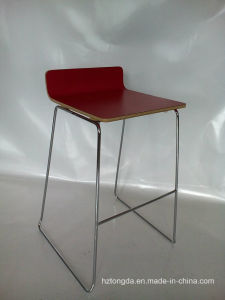Red HPL/Laminate Barstool with Metal Frame