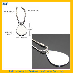 Wholesale 60cm Ball Chain High Polished Stainless Steel Dog Tag Necklace Silver Water Drop Shaped Blank Metal Pet ID Tag