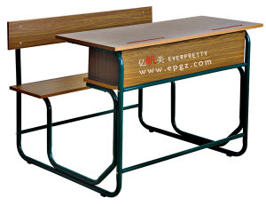 School Furniture Wooden Double Desk with Bench (GT-57) pictures & photos