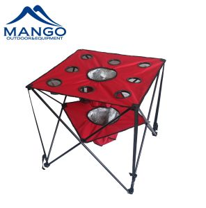 Folding Camping Picnic Table With Cooler Bag And Cup Holders Mw12017