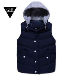 Unisex Top Quality Zipper Winter Hooded Jacket Sleeveless Down Vest pictures & photos