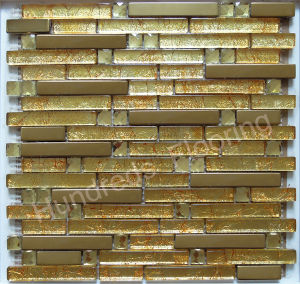 Strip Gold Diamond and Metal Mosaic Tile (SM213) pictures & photos
