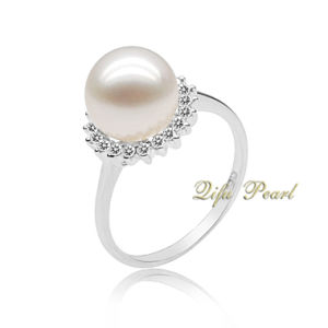 9k Gold Ring With Freshwater Pearl and Diamonds (EBR0267)