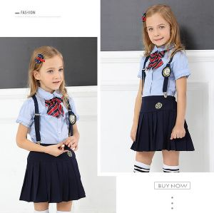 Primary School Uniform for Boys and Girls blue Shirt with Belt and Tie  pictures & photos