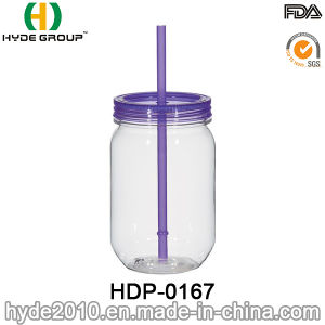 16oz Wholesale BPA Free Plastic Mason Jar with Straw (HDP-0167) pictures & photos