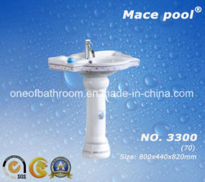 One-Piece Pedestal Basin Wash Sink Used in Bathroom/Public Toilets (3300) pictures & photos