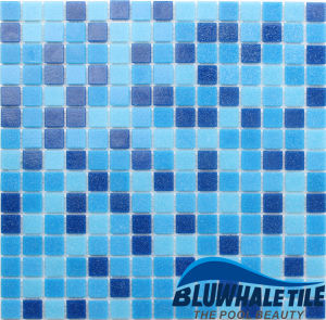 Small Size Thickness 4mm Square Deep Blue Glass Mosaic for Pool Design