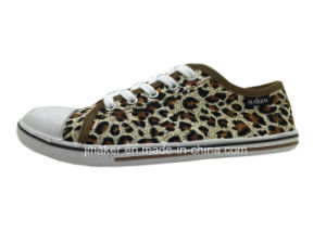 Leopard Printing Low Cut Canvas Shoe for Lady (3545-L)