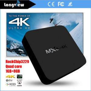 in Stock Rk3229 HD Kodi 15.2 Loaded Smart Android 4.4 Quad Core TV Box Mxq-4k pictures & photos
