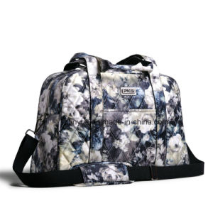 Simple Design Ladies Portable Flower Pattern Weekend Travel Bag/ Luggage Bag with Adjustable Shoulder Belt
