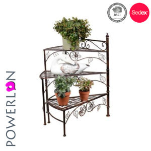 China Wrought Iron 3 Tier Planter Stand For Outdoor Decoration