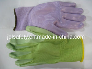 Colorful Nylon Knitted Working Gloves with Colorful Nitrile Coated on Paml (N1569C) pictures & photos