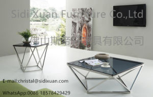 Modern Vector Modern Smoked Glass Stainless Steel End Side Table pictures & photos