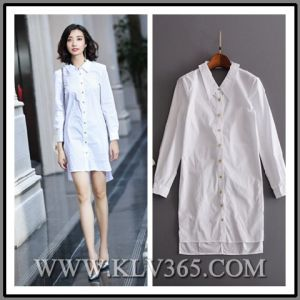 5bebb4377736 China Designer Women Autumn White Cotton Long Sleeve Shirt Dress ...