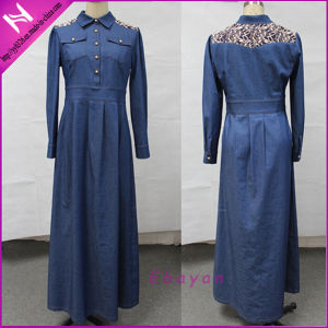 New Design Abaya Lace Appliqued Maxi Denim Dress