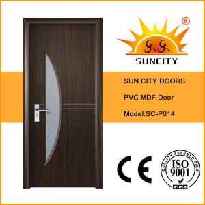 Interior PVC Coated MDF Office Door with Glass Design (SC-P014) pictures & photos