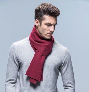 Men′s Fashion Plain Color Wool Acrylic Knitted Winter Scarf (YKY4619) pictures & photos