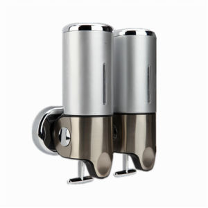 Silver 500ml*2 Stainless Steel+ABS Plastic Wall-Mountained Liquid Soap Dispenser