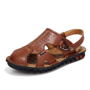 Handmade Rubber Outsole Man Leather Casual Sandal (WH0065)